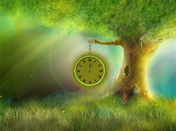 Open a window in a calm fantasy garden with an animated clock best Screen Shot