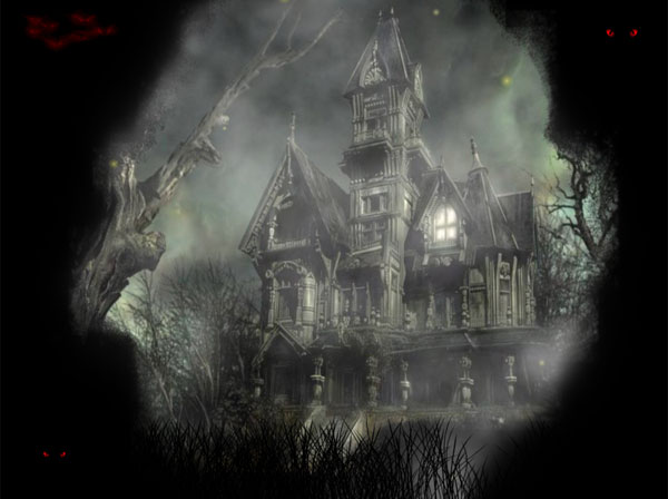 The animated background with this house is designed specially for Halloween.